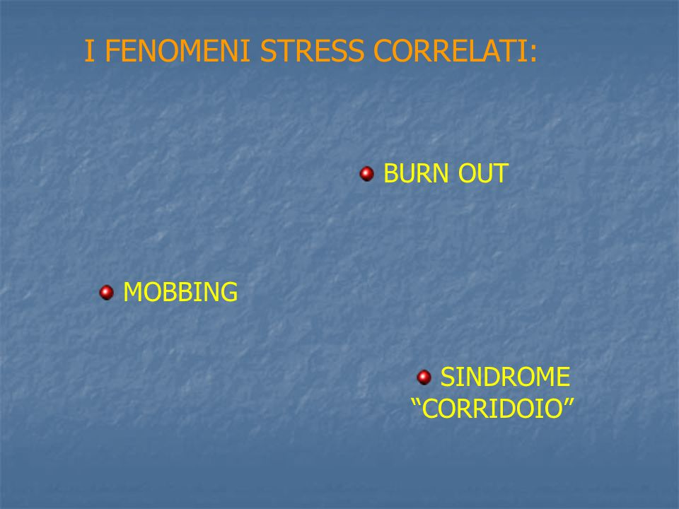 I FENOMENI STRESS CORRELATI: