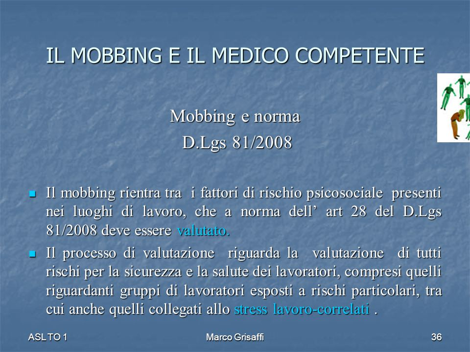 IL MOBBING E IL MEDICO COMPETENTE