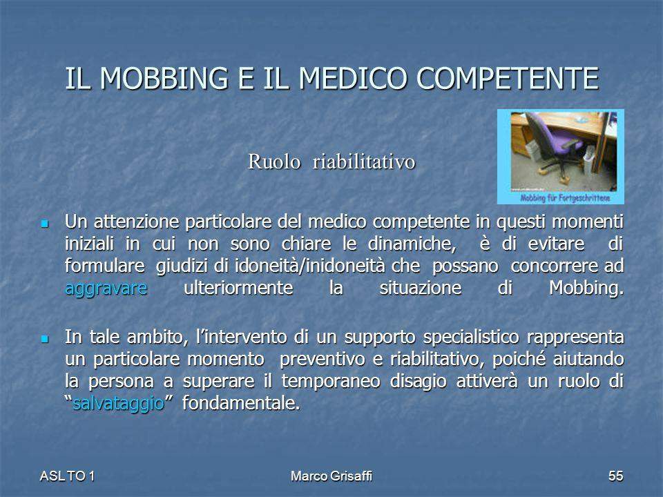 IL MOBBING E IL MEDICO COMPETENTE