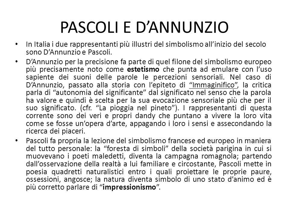 PASCOLI E D'ANNUNZIO In Italia i due rappresentanti più illustri del simbolismo all'inizio del secolo sono D'Annunzio e Pascoli.