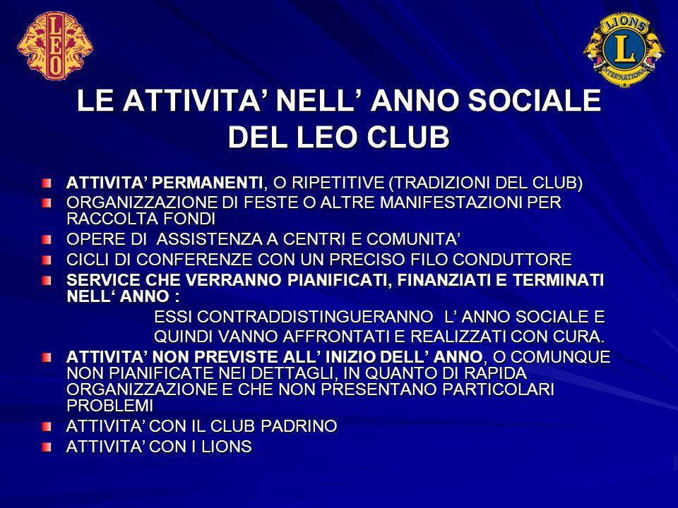 LE ATTIVITA' NELL' ANNO SOCIALE DEL LEO CLUB