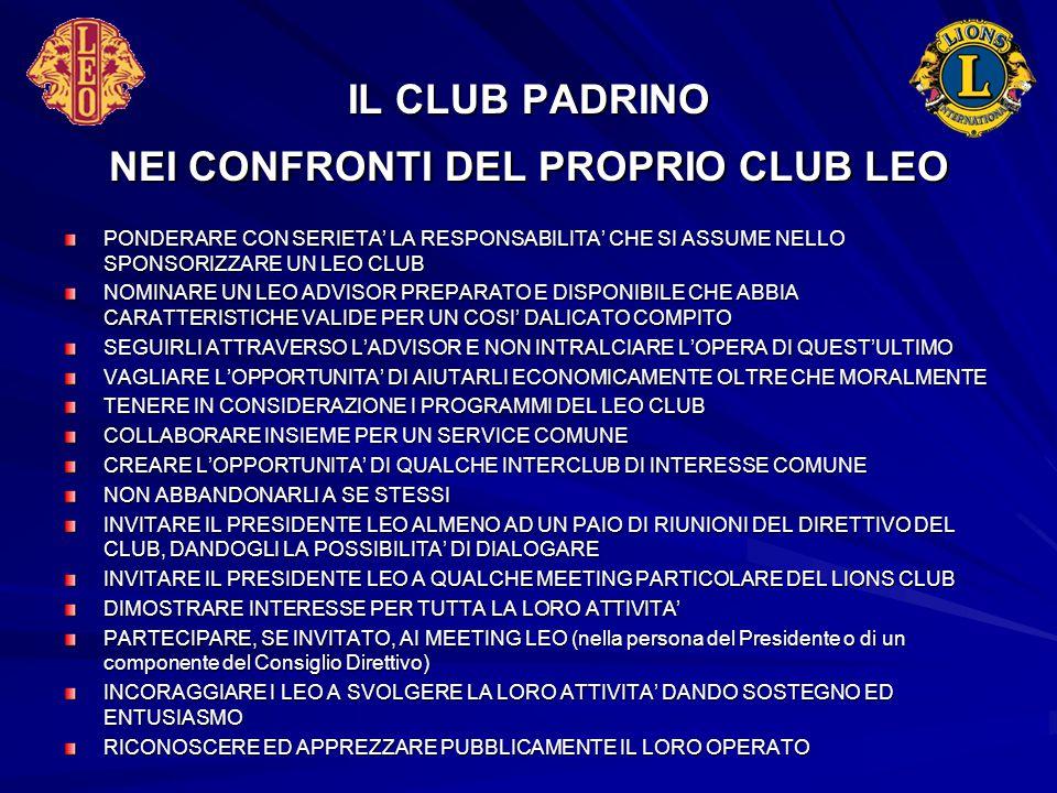 IL CLUB PADRINO NEI CONFRONTI DEL PROPRIO CLUB LEO