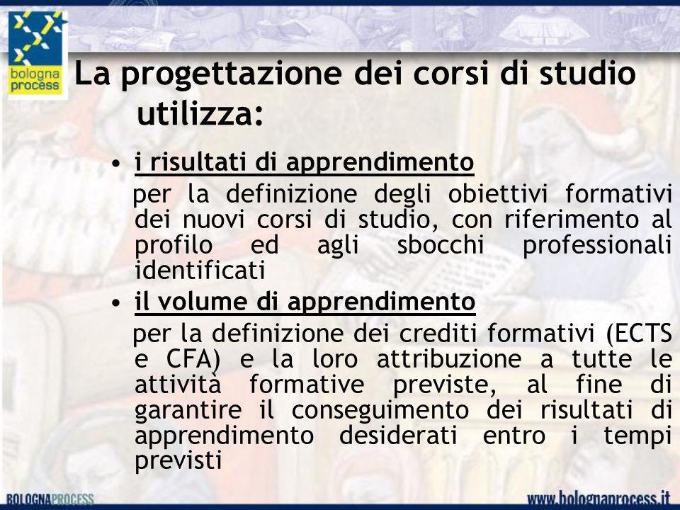La progettazione dei corsi di studio utilizza: