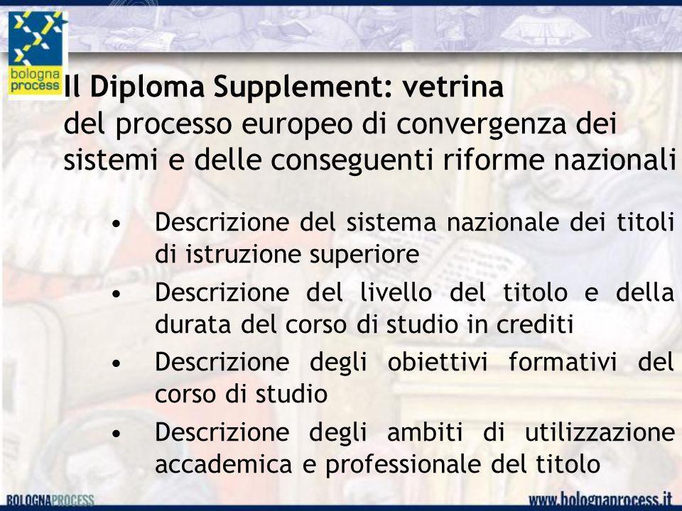 Il Diploma Supplement: vetrina del processo europeo di convergenza dei sistemi e delle conseguenti riforme nazionali