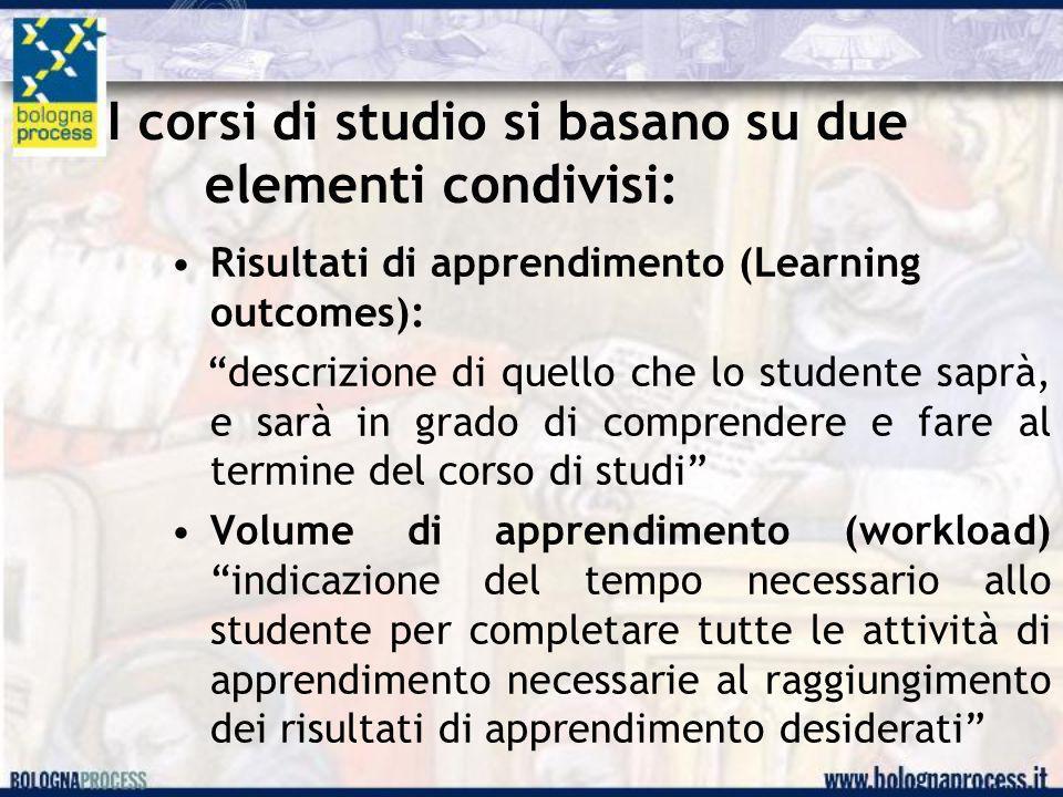 I corsi di studio si basano su due elementi condivisi: