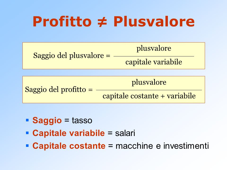 capitale costante + variabile