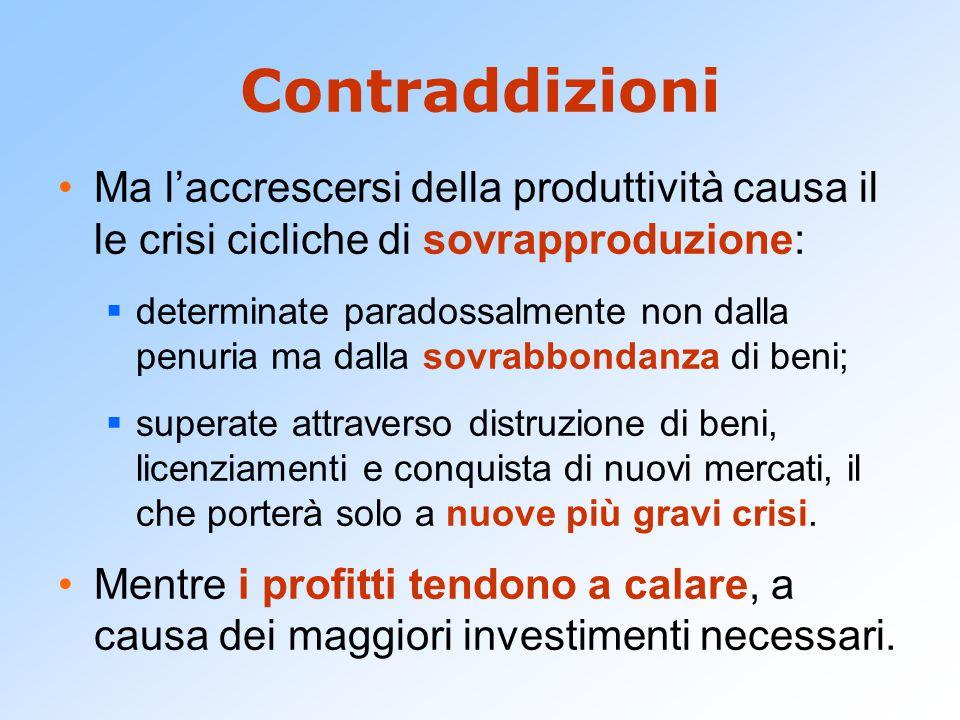 Contraddizioni Ma l'accrescersi della produttività causa il le crisi cicliche di sovrapproduzione: