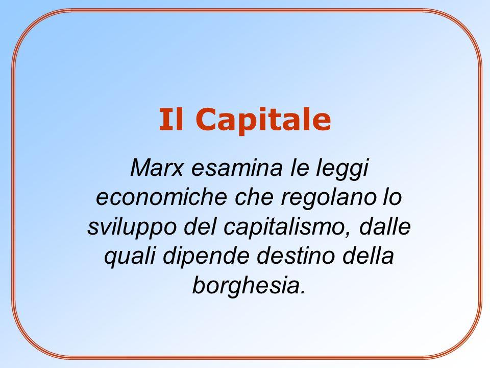 Il Capitale Marx esamina le leggi economiche che regolano lo sviluppo del capitalismo, dalle quali dipende destino della borghesia.