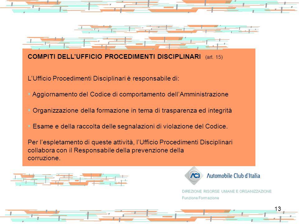 COMPITI DELL'UFFICIO PROCEDIMENTI DISCIPLINARI (art. 15)