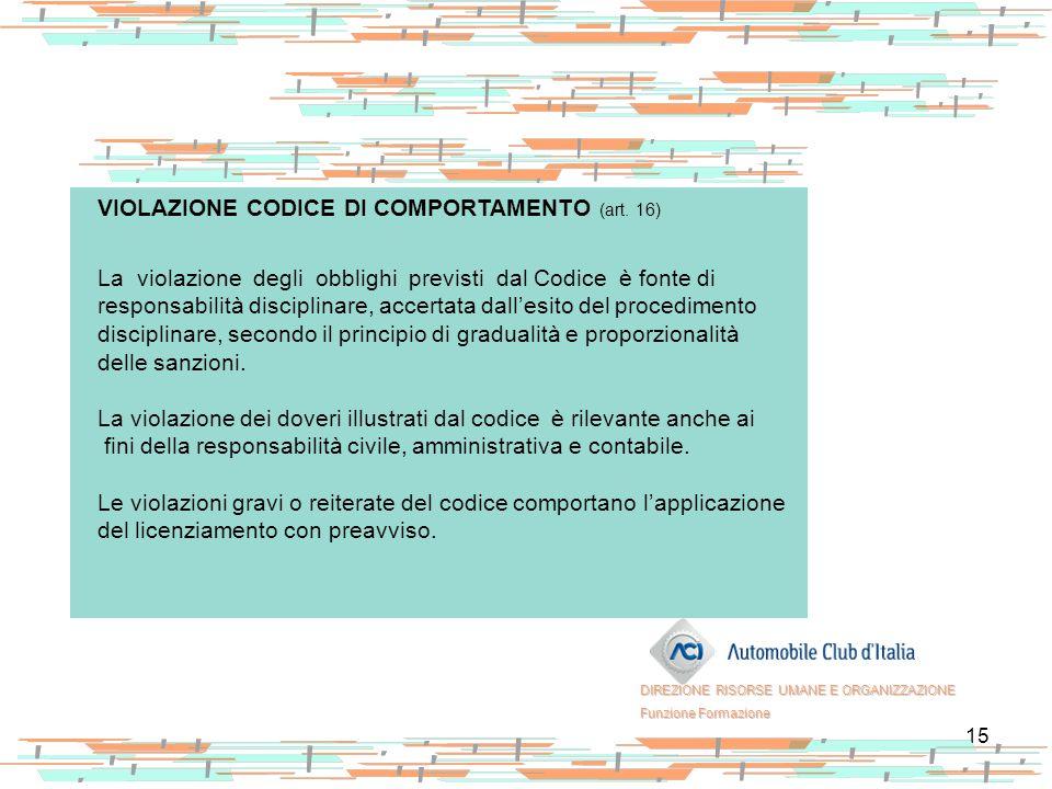 VIOLAZIONE CODICE DI COMPORTAMENTO (art. 16)