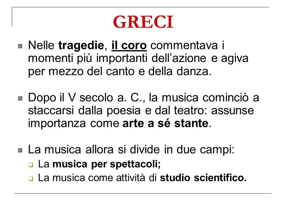 GRECI Nelle tragedie, il coro commentava i momenti più importanti dell'azione e agiva per mezzo del canto e della danza.