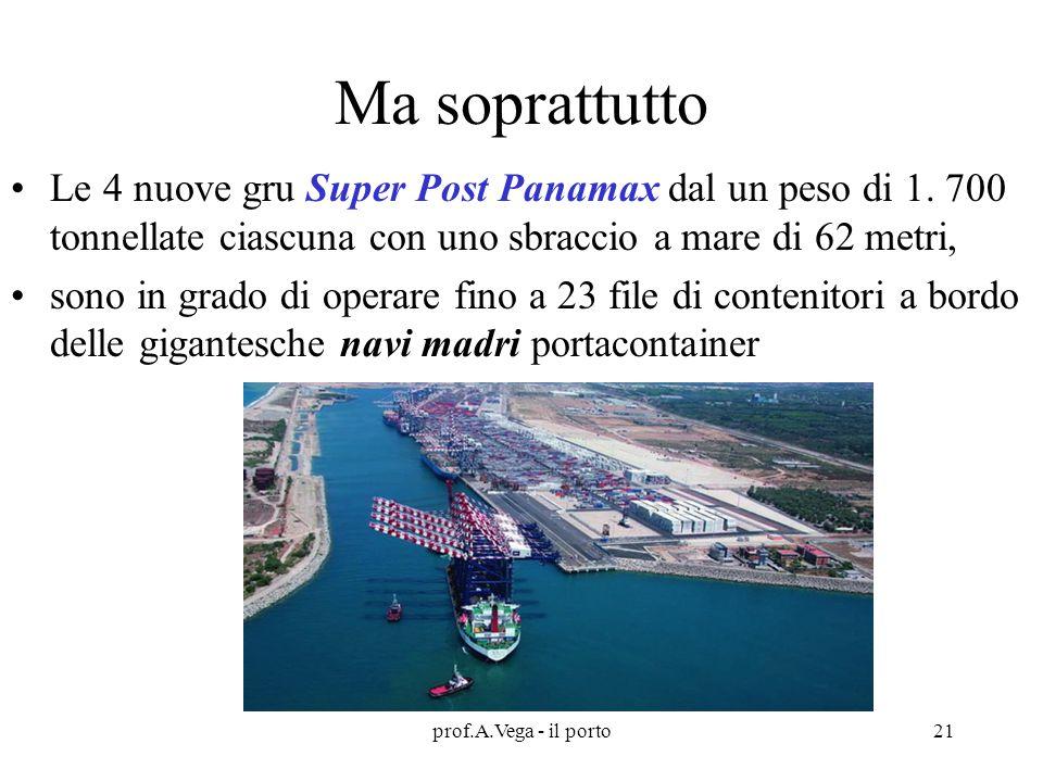 Ma soprattutto Le 4 nuove gru Super Post Panamax dal un peso di 1. 700 tonnellate ciascuna con uno sbraccio a mare di 62 metri,