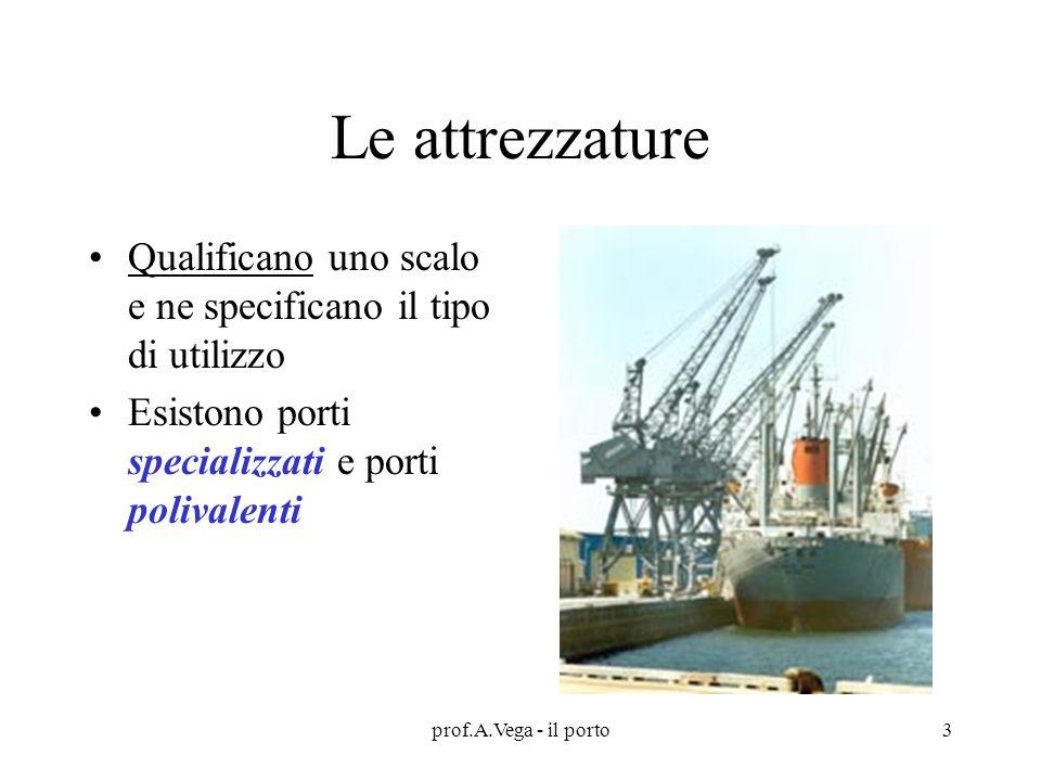 Le attrezzature Qualificano uno scalo e ne specificano il tipo di utilizzo. Esistono porti specializzati e porti polivalenti.
