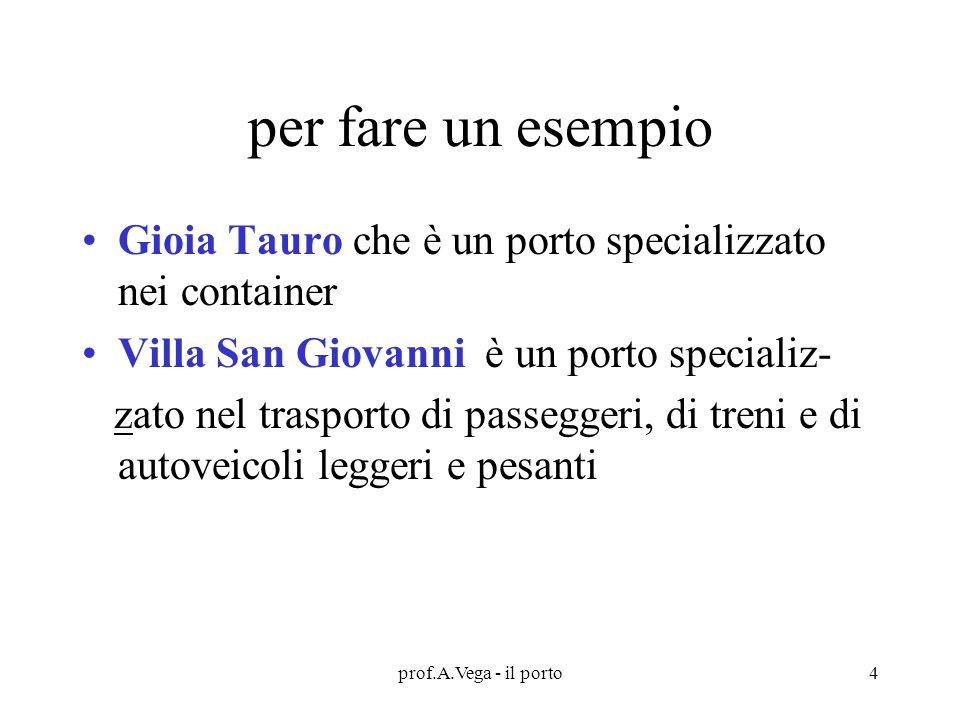 per fare un esempio Gioia Tauro che è un porto specializzato nei container. Villa San Giovanni è un porto specializ-