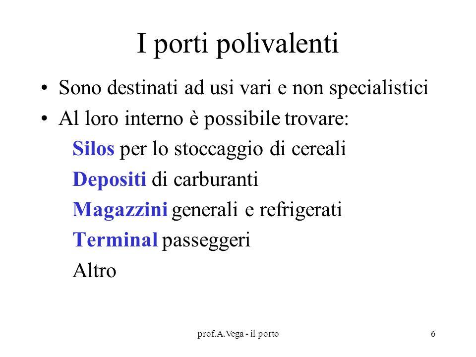 I porti polivalenti Sono destinati ad usi vari e non specialistici