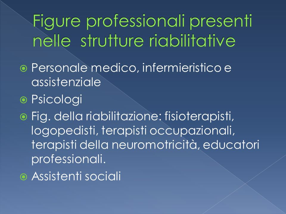 Figure professionali presenti nelle strutture riabilitative