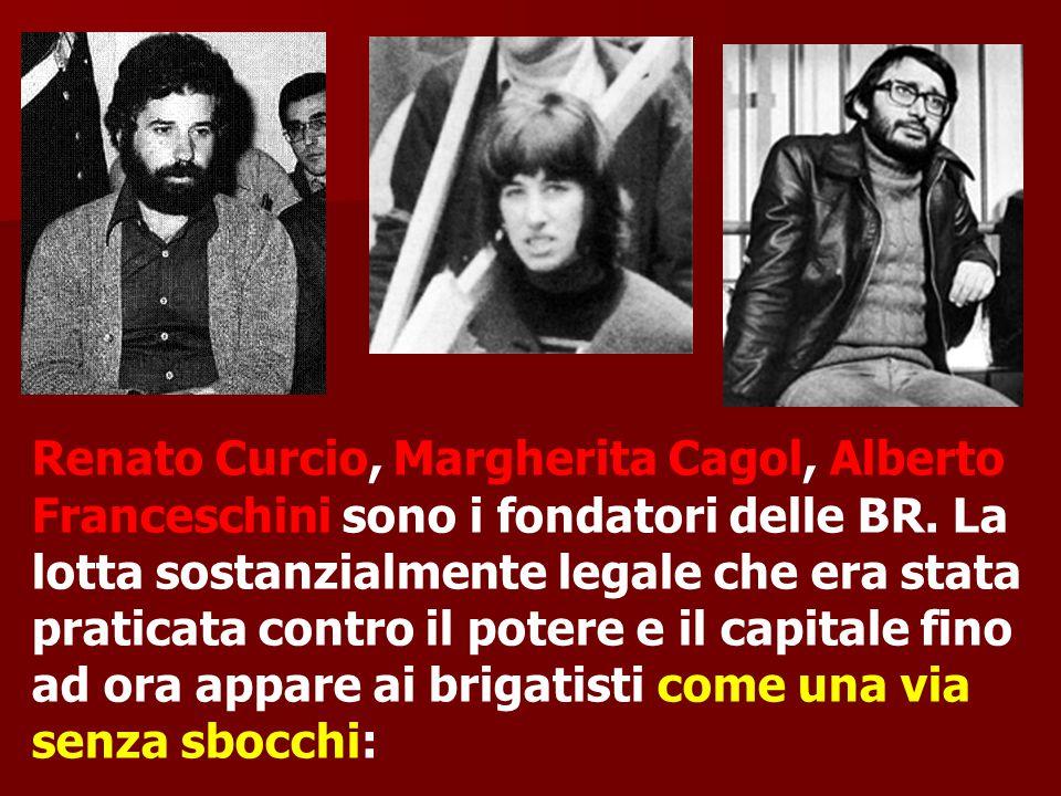 Renato Curcio, Margherita Cagol, Alberto Franceschini sono i fondatori delle BR.