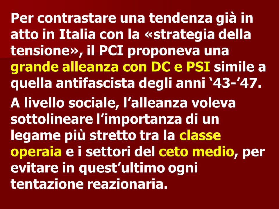 Per contrastare una tendenza già in atto in Italia con la «strategia della tensione», il PCI proponeva una grande alleanza con DC e PSI simile a quella antifascista degli anni '43-'47.