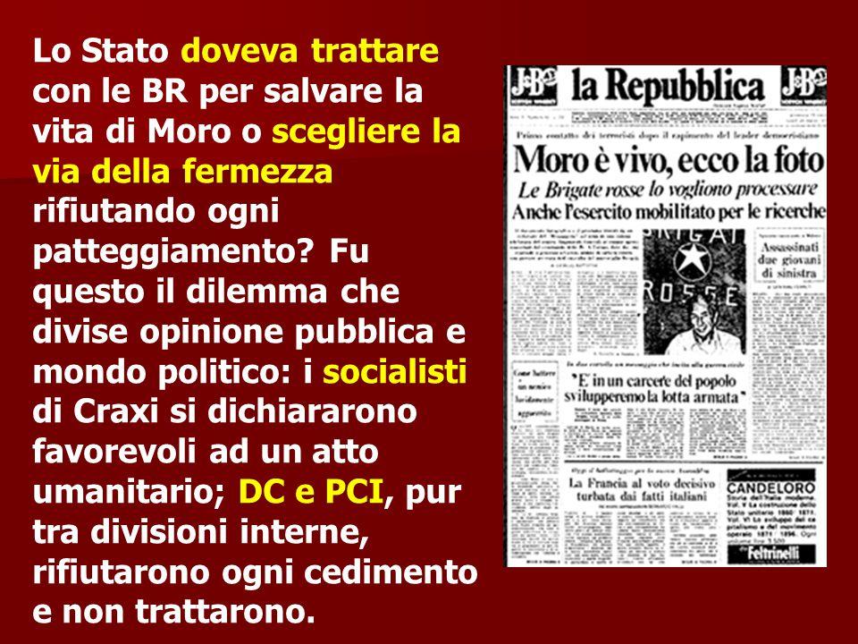 Lo Stato doveva trattare con le BR per salvare la vita di Moro o scegliere la via della fermezza rifiutando ogni patteggiamento.