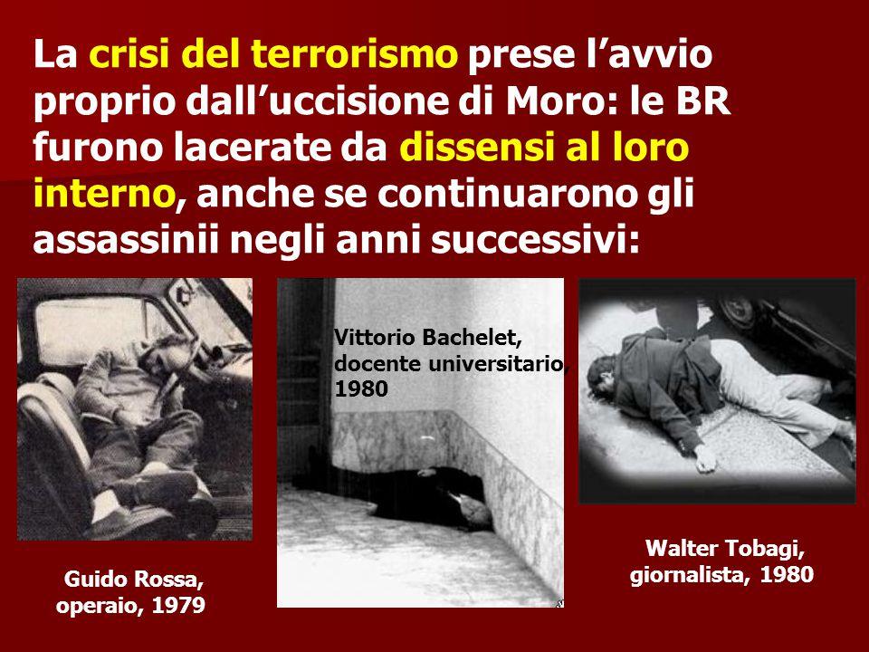 La crisi del terrorismo prese l'avvio proprio dall'uccisione di Moro: le BR furono lacerate da dissensi al loro interno, anche se continuarono gli assassinii negli anni successivi: