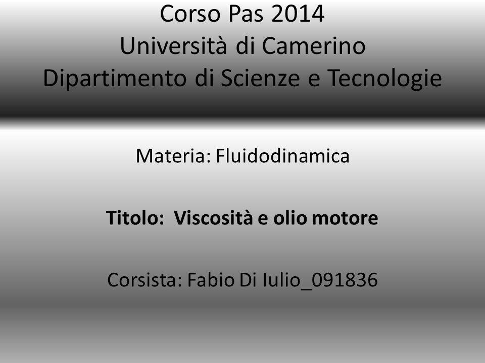 Corso Pas 2014 Università di Camerino Dipartimento di Scienze e Tecnologie