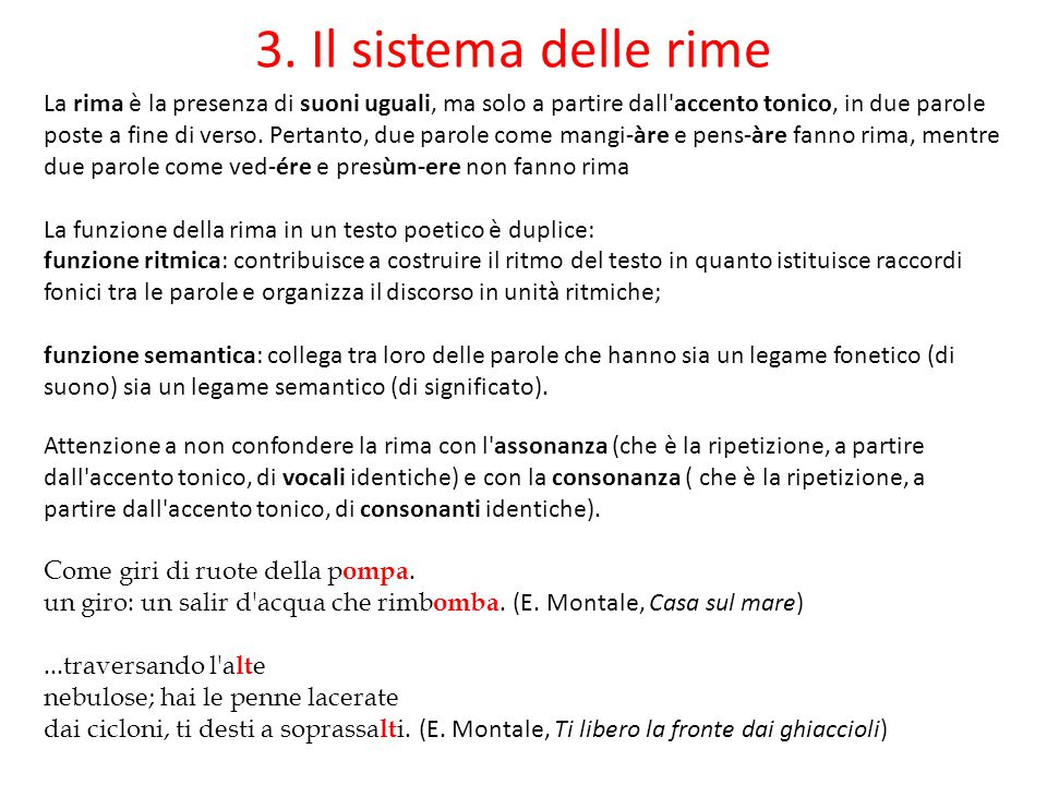 3. Il sistema delle rime