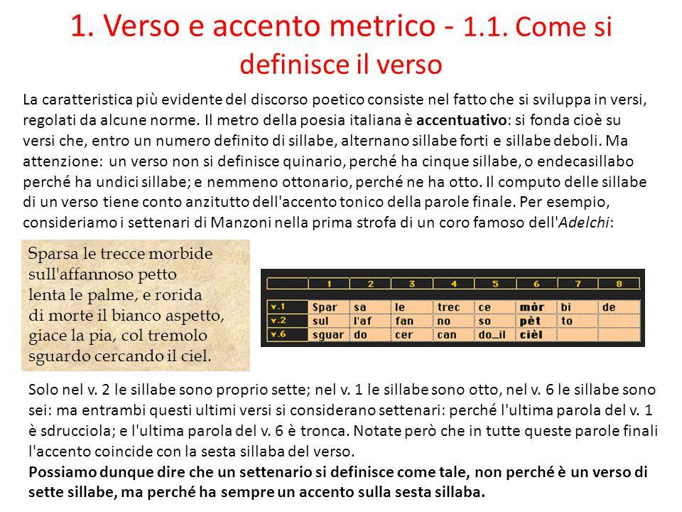 1. Verso e accento metrico - 1.1. Come si definisce il verso