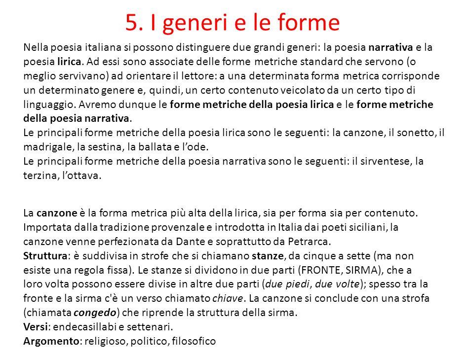 5. I generi e le forme