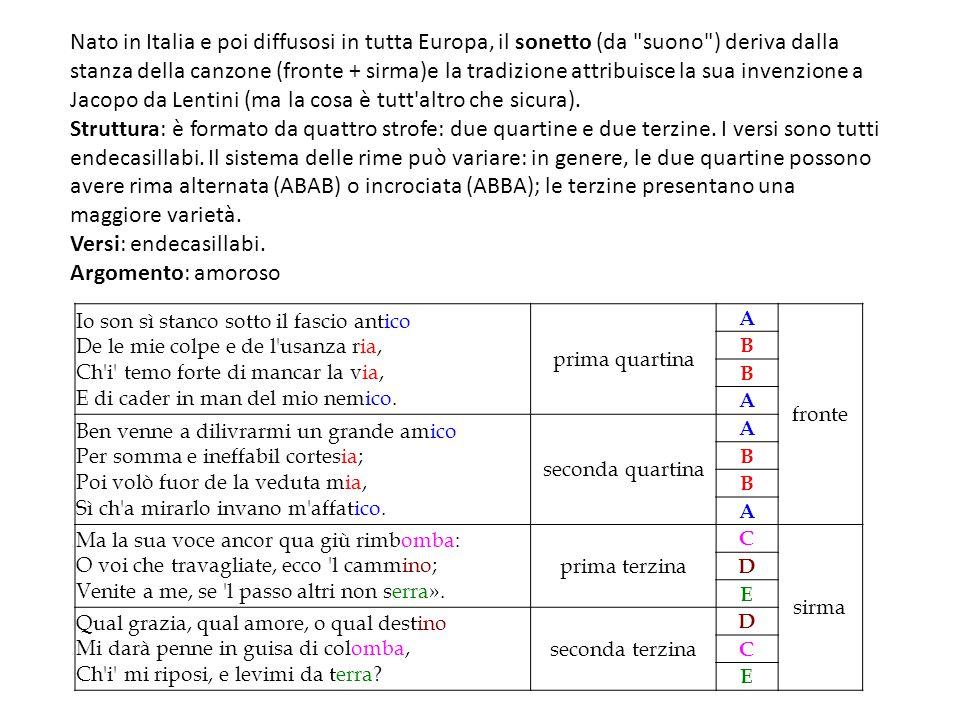 Nato in Italia e poi diffusosi in tutta Europa, il sonetto (da suono ) deriva dalla stanza della canzone (fronte + sirma)e la tradizione attribuisce la sua invenzione a Jacopo da Lentini (ma la cosa è tutt altro che sicura).