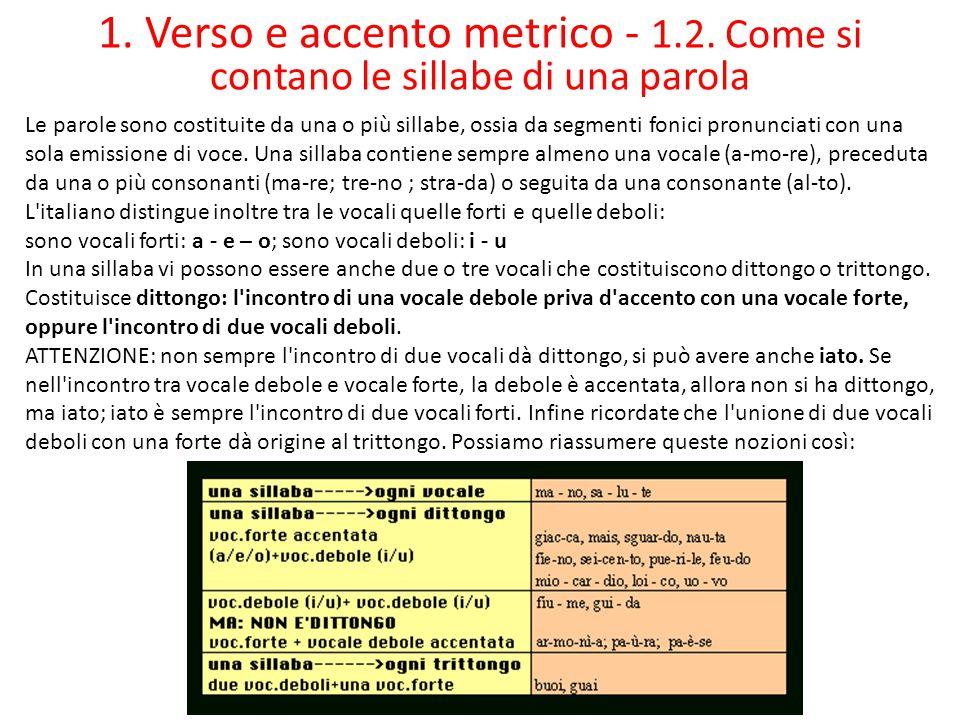 1. Verso e accento metrico - 1. 2