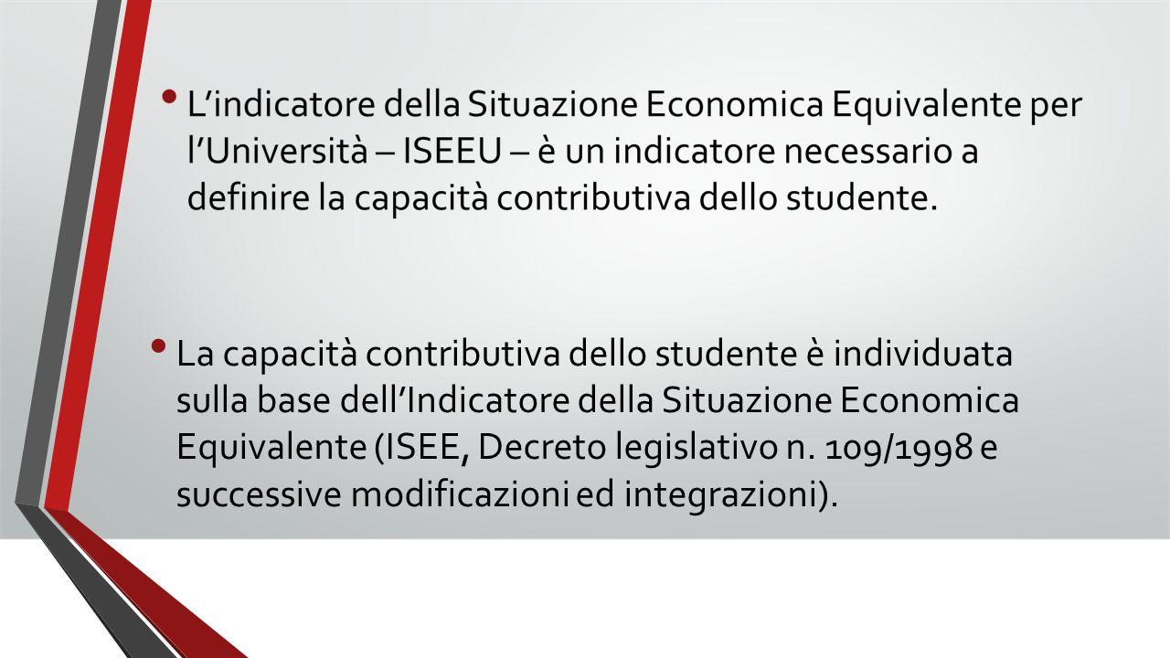 La capacità contributiva dello studente è individuata sulla base dell'Indicatore della Situazione Economica Equivalente (ISEE, Decreto legislativo n.