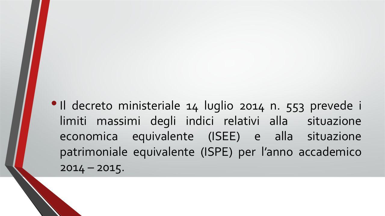 Il decreto ministeriale 14 luglio 2014 n