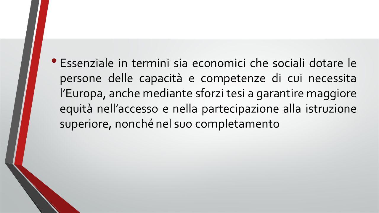 Essenziale in termini sia economici che sociali dotare le persone delle capacità e competenze di cui necessita l'Europa, anche mediante sforzi tesi a garantire maggiore equità nell'accesso e nella partecipazione alla istruzione superiore, nonché nel suo completamento