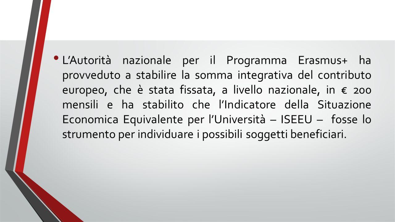 L'Autorità nazionale per il Programma Erasmus+ ha provveduto a stabilire la somma integrativa del contributo europeo, che è stata fissata, a livello nazionale, in € 200 mensili e ha stabilito che l'Indicatore della Situazione Economica Equivalente per l'Università – ISEEU – fosse lo strumento per individuare i possibili soggetti beneficiari.