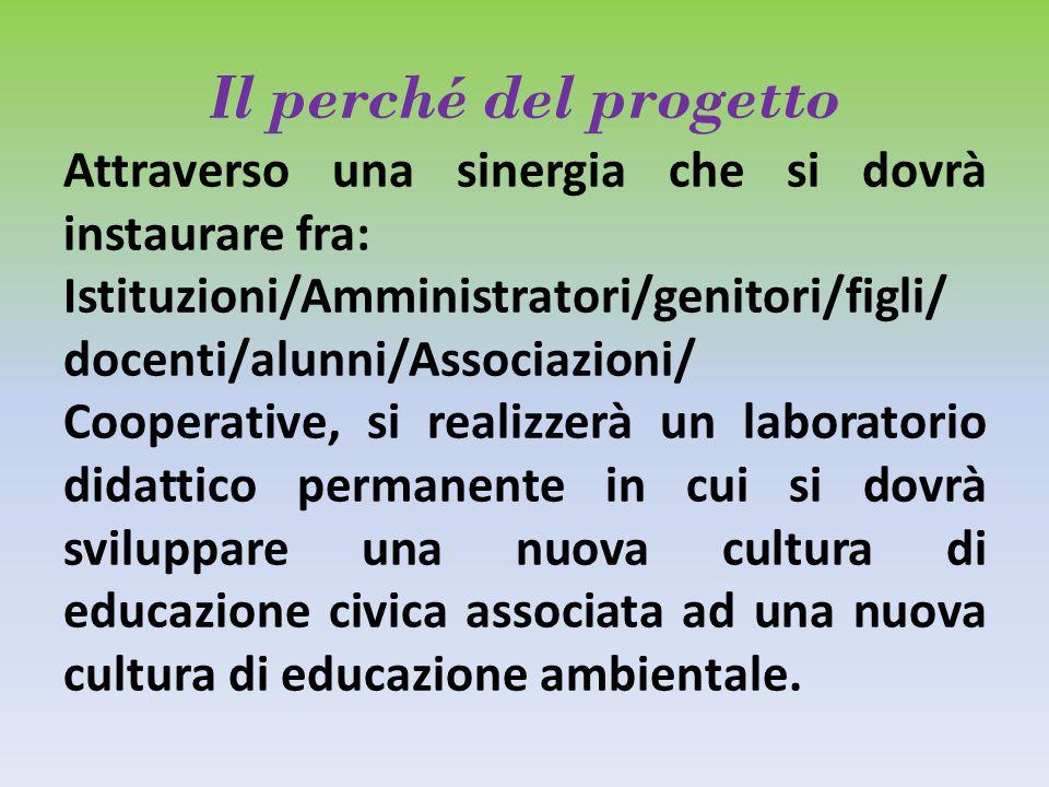 Il perché del progetto Attraverso una sinergia che si dovrà instaurare fra: Istituzioni/Amministratori/genitori/figli/