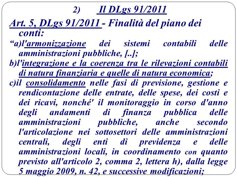 Art. 5, DLgs 91/2011 - Finalità del piano dei conti: