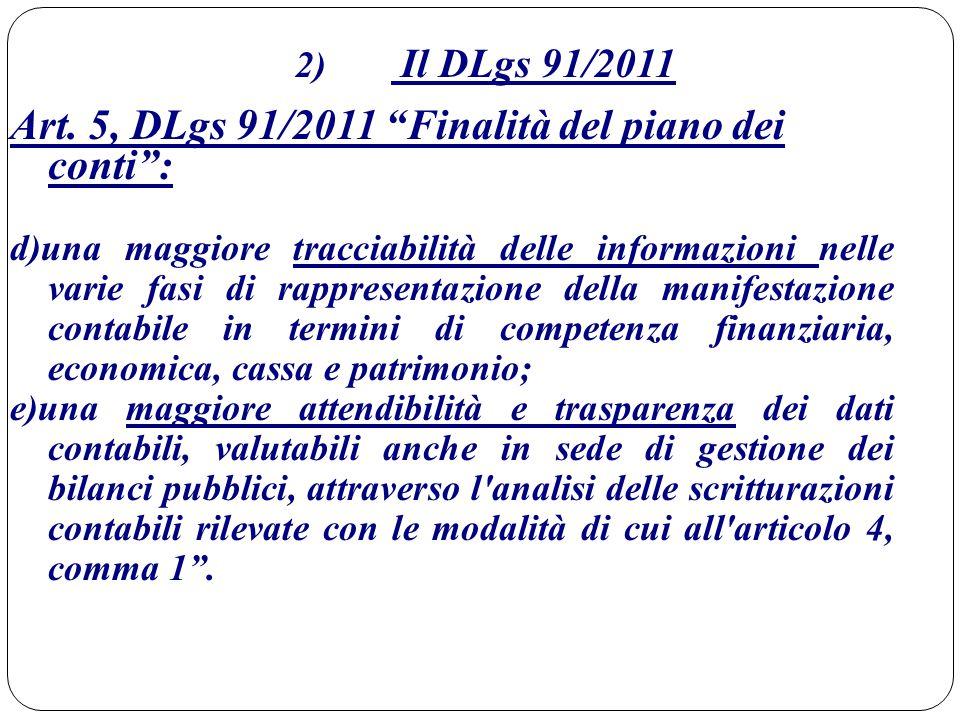 Art. 5, DLgs 91/2011 Finalità del piano dei conti :