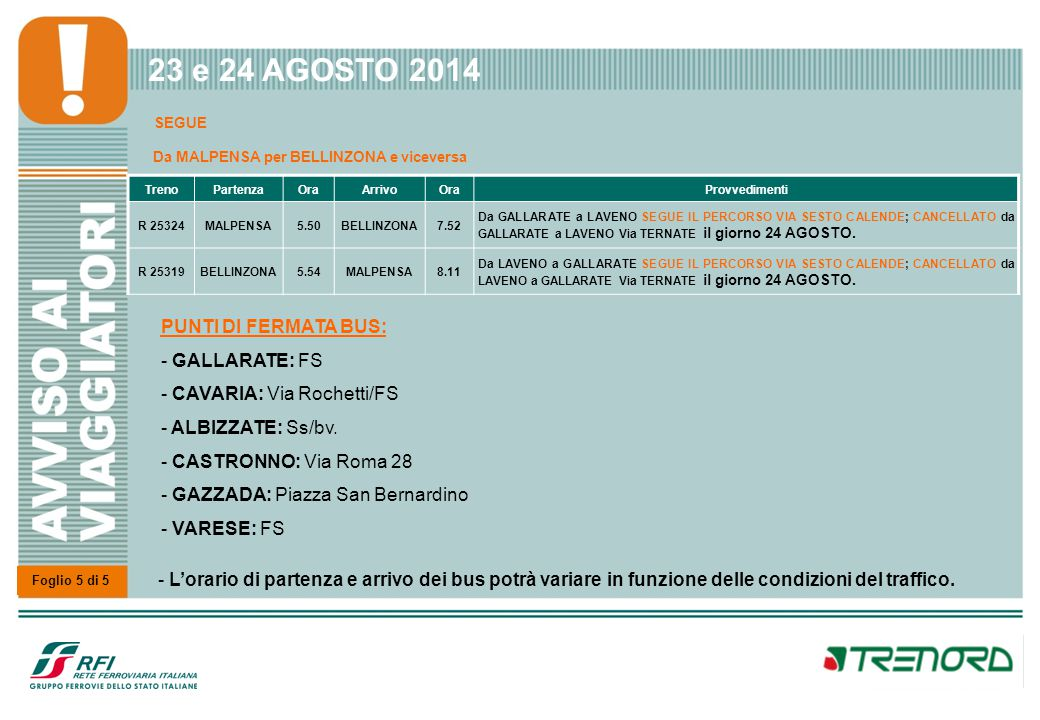 23 e 24 AGOSTO 2014 SEGUE Da VARESE per MILANO P.TA GARIBALDI
