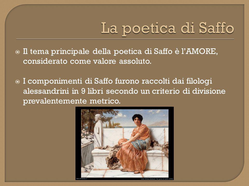 La poetica di Saffo Il tema principale della poetica di Saffo è l'AMORE, considerato come valore assoluto.