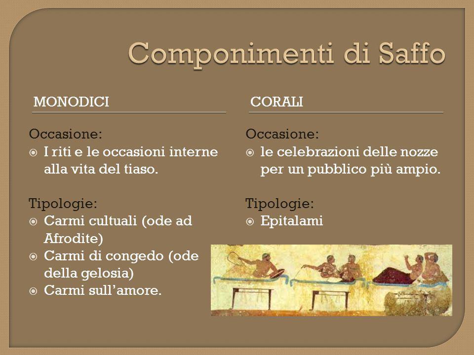 Componimenti di Saffo Monodici Corali Occasione: