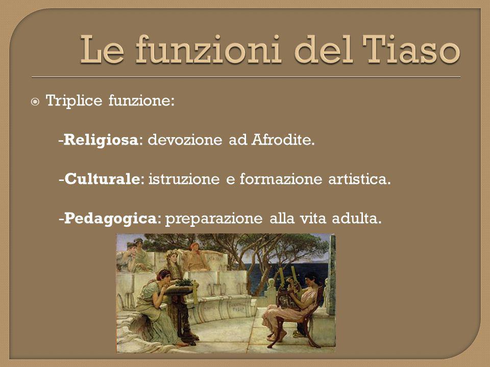 Le funzioni del Tiaso Triplice funzione: -Religiosa: devozione ad Afrodite. -Culturale: istruzione e formazione artistica.