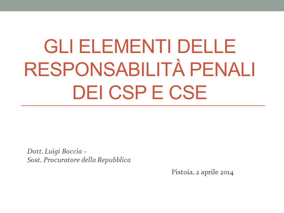 Gli elementi delle responsabilità penali dei CSP e CSE