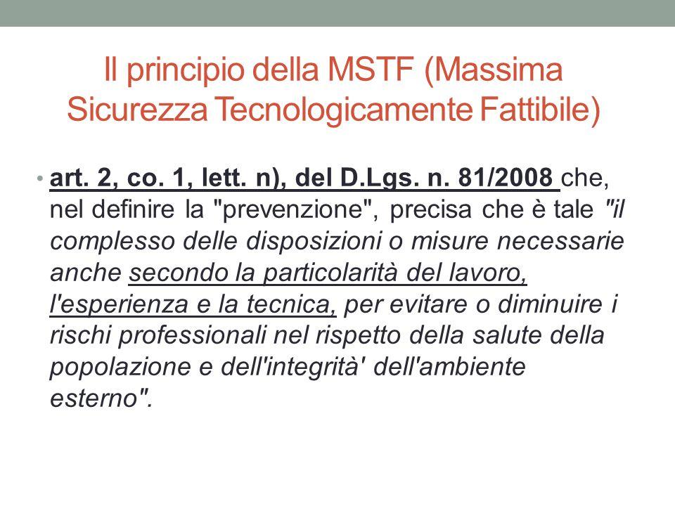 Il principio della MSTF (Massima Sicurezza Tecnologicamente Fattibile)