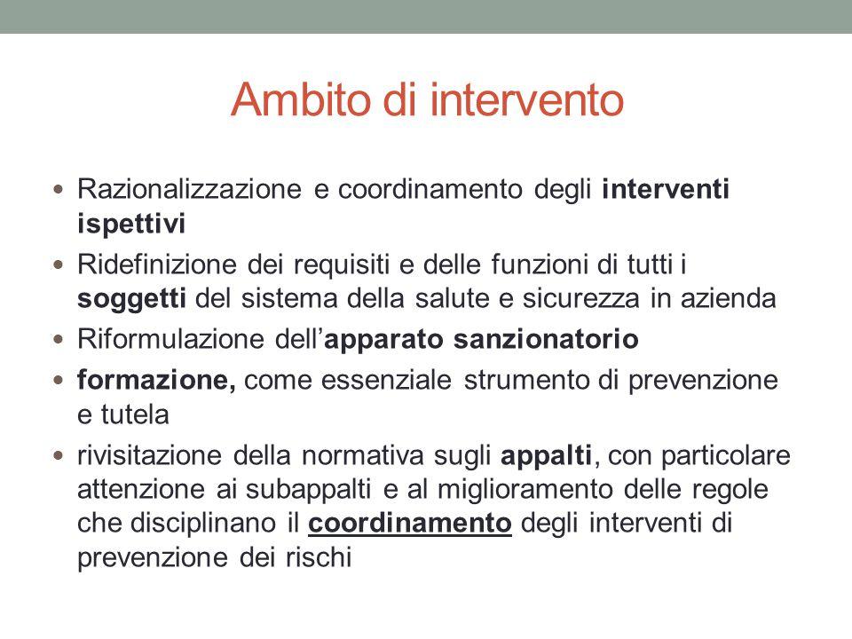 Ambito di intervento Razionalizzazione e coordinamento degli interventi ispettivi.