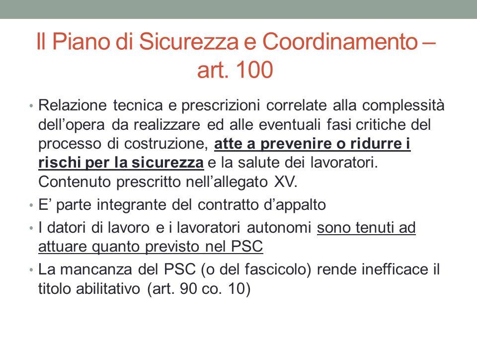 Il Piano di Sicurezza e Coordinamento – art. 100