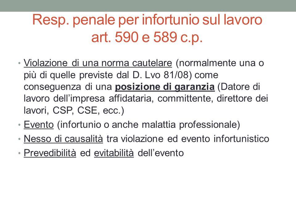 Resp. penale per infortunio sul lavoro art. 590 e 589 c.p.