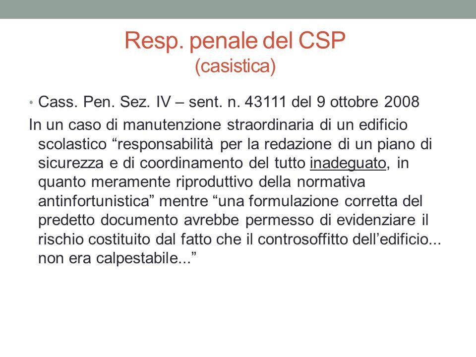 Resp. penale del CSP (casistica)