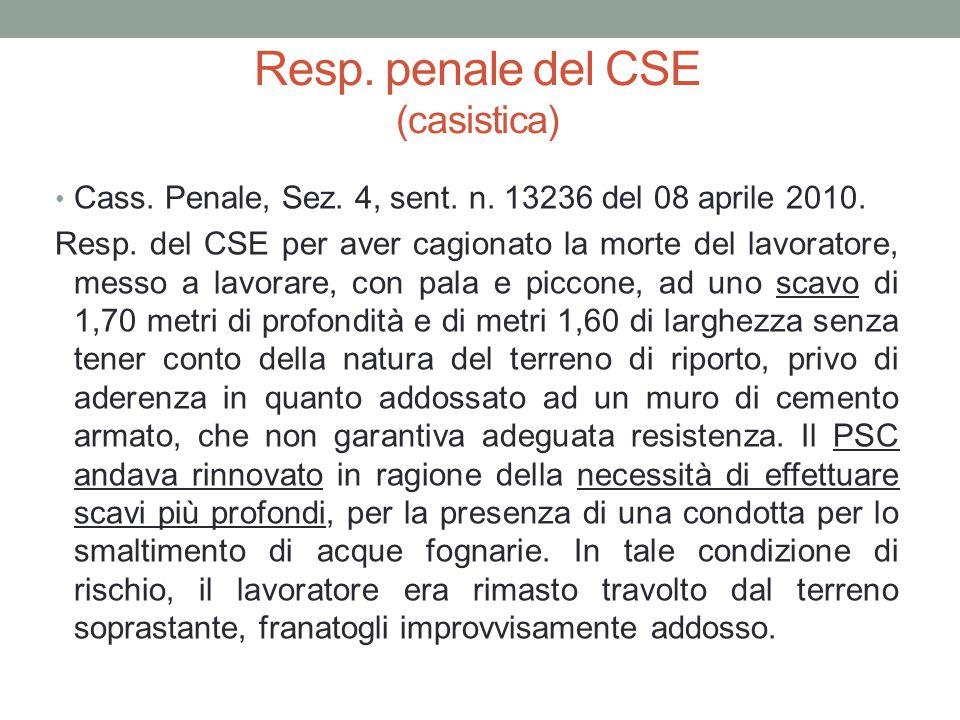 Resp. penale del CSE (casistica)