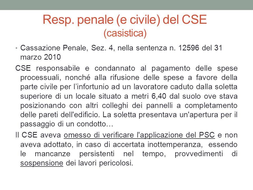 Resp. penale (e civile) del CSE (casistica)