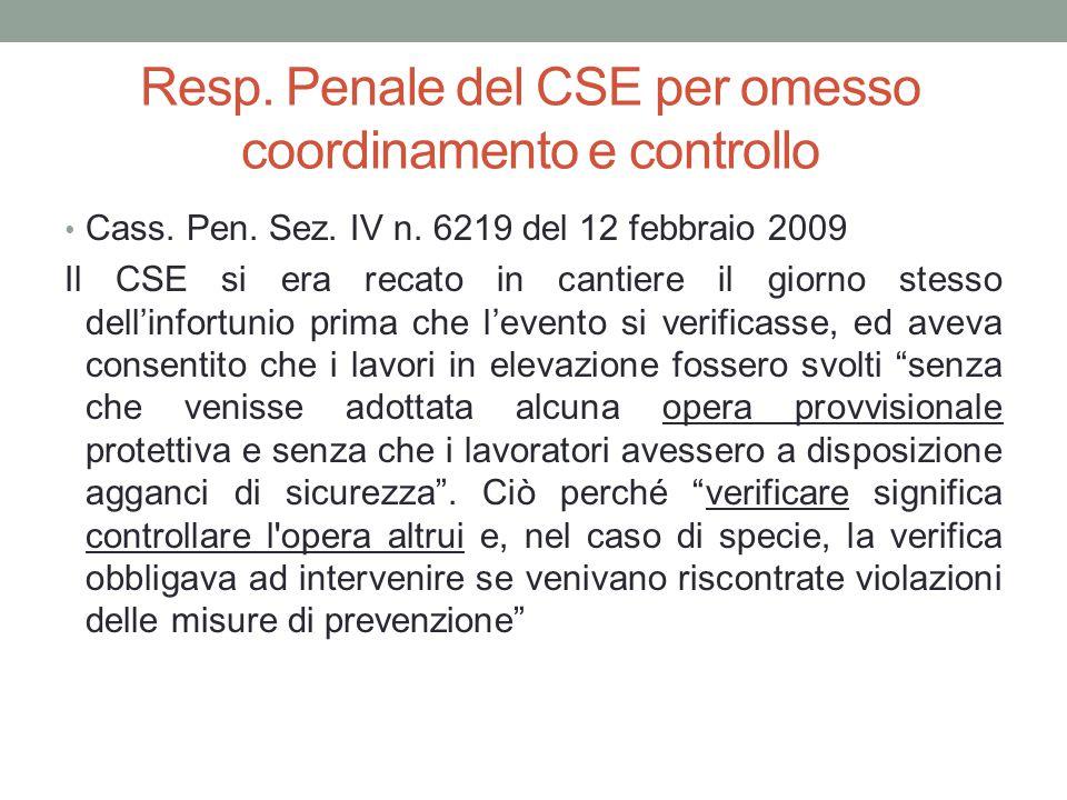 Resp. Penale del CSE per omesso coordinamento e controllo